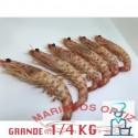 LANGOSTINOS TIGRES  GRANDES COCIDOS 1/4 KG